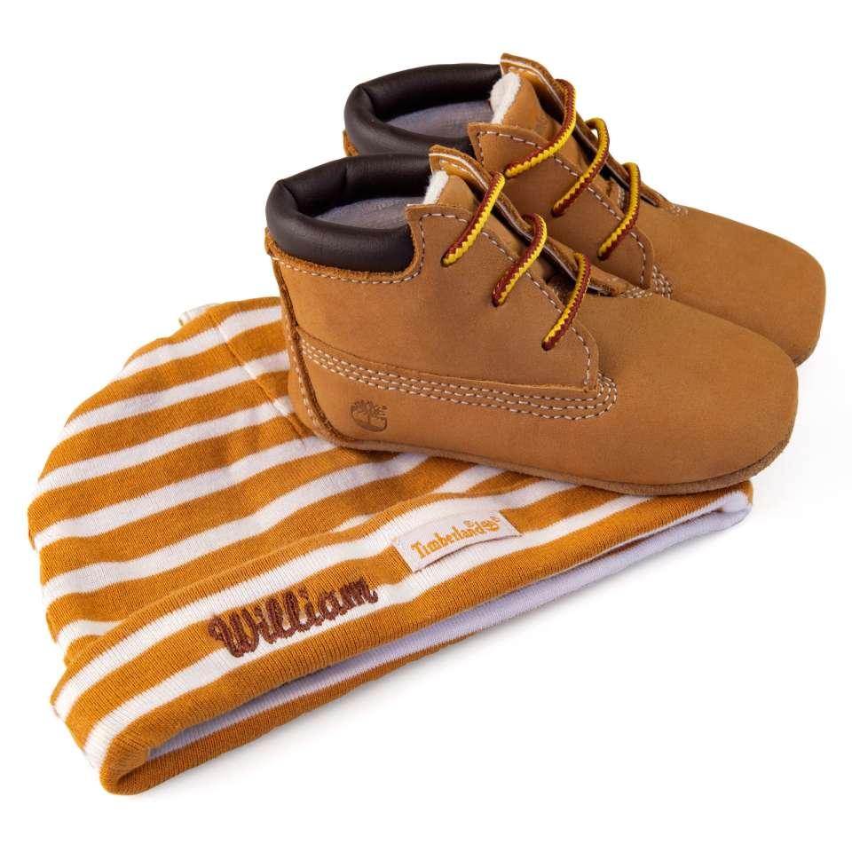 Timberland babysett med sko og lue, beige